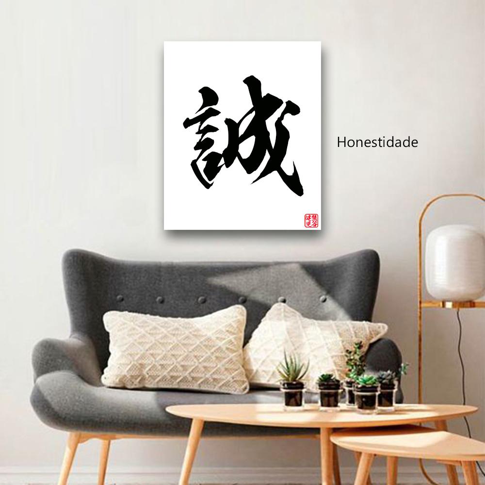 Quadro em Ideograma Japonês Kanji Estilo Pincel Personalizado 60 x 50 cm / Zen, Feng Shui, Decoração, Academia, Sala de estar, Escritório, Zen, Feng Shui, Karate, Aikido, Judo, Samurai, Bushido, Yoga