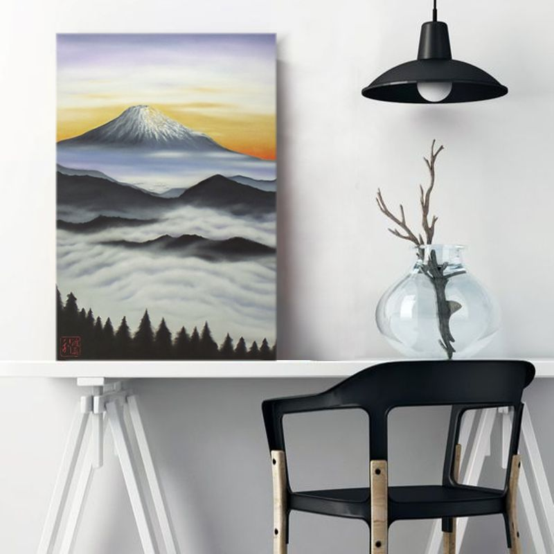 Quadro Estilo Japonês Monte Fuji ao Amanhecer Óleo em Tela Pintado à Mão 60x40cm / Decoração Oriental, Arte, Estampa Japonesa