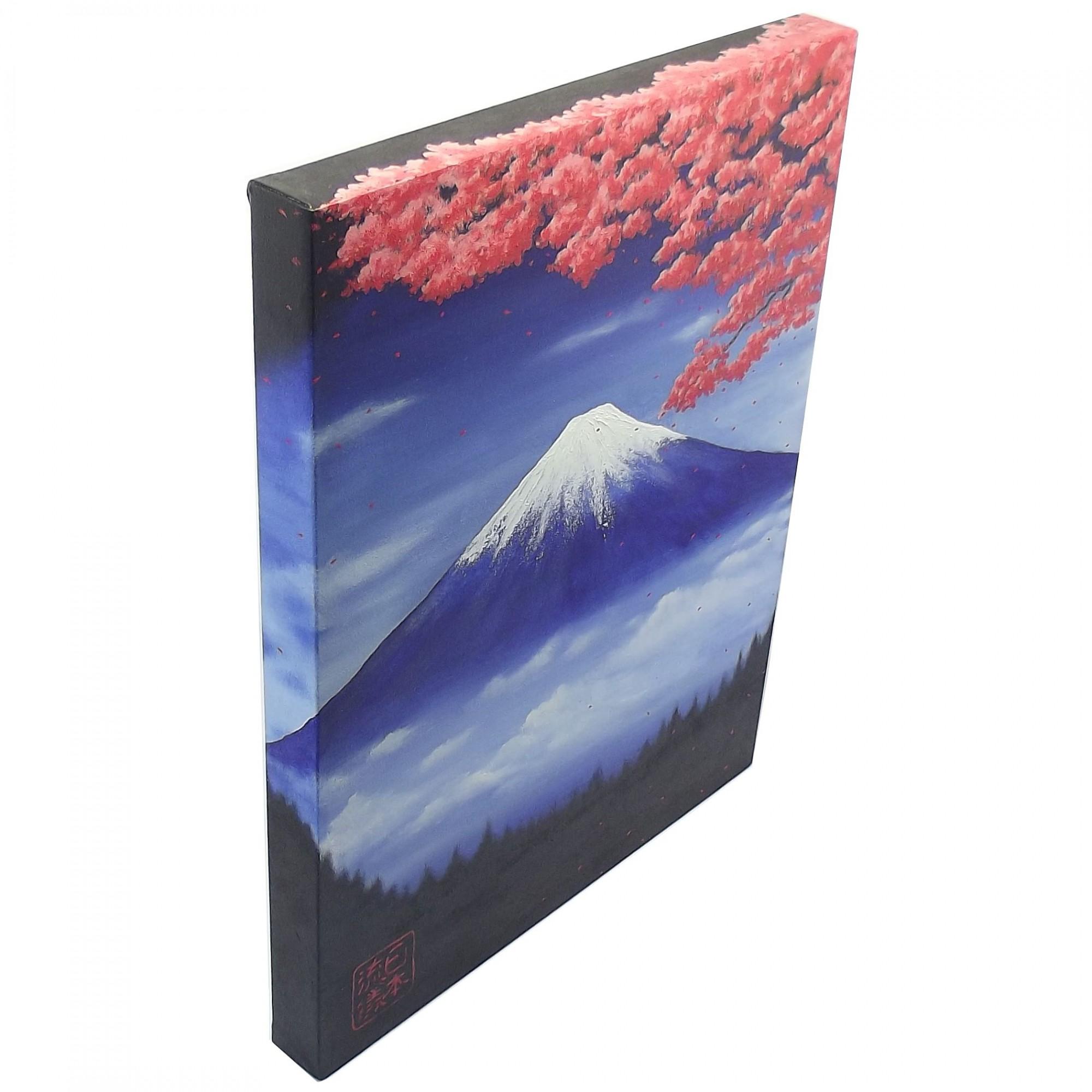 Quadro Estilo Japonês Monte Fuji Sakura Pintado à Mão 50x40cm / Decoração Oriental, Arte, Estampa Japonesa, Fujiyama
