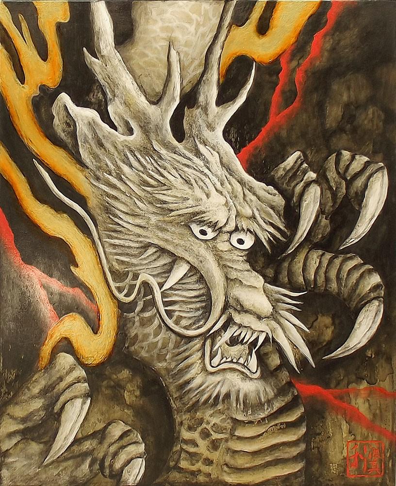 Quadro Estilo Japonês Ryuu Dragão Proteção Pintado à Mão 50x40cm / Decoração Oriental, Arte, Estampa Japonesa, Fujiyama