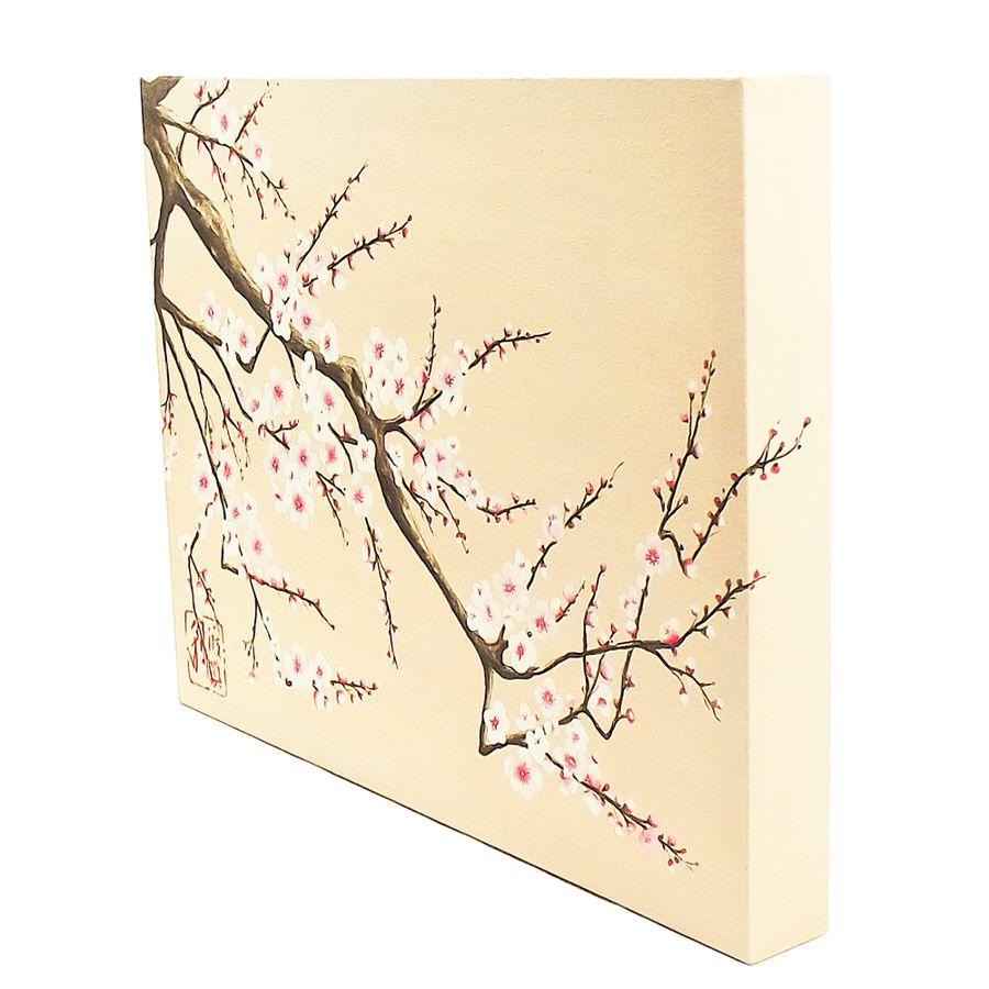 Quadro Estilo Japonês Sakura Flor de Cerejeira Pintado à Mão 40x30 cm / Decoração Oriental, Arte, Estampa Japonesa, Pintura Artesanal