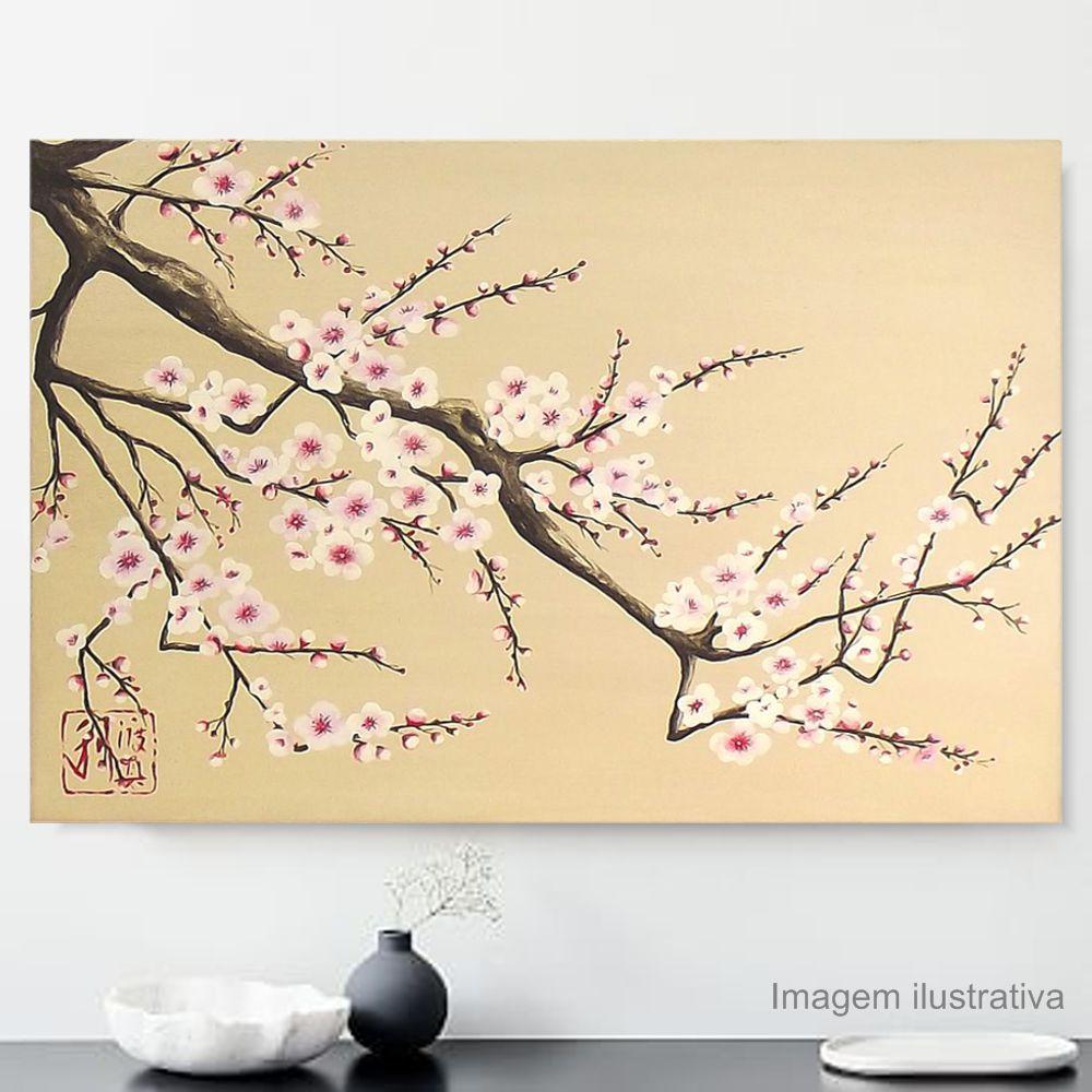 Quadro Estilo Japonês Sakura Flor de Cerejeira Pintado à Mão 60x40 cm / Decoração Oriental