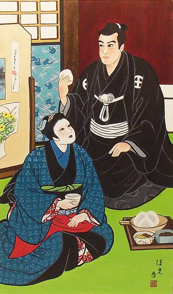 Quadro Estilo Japonês Ukiyo-e Casal Samurai e Gueixa Pintado à Mão 50x30cm / Decoração Oriental, Arte, Estampa Japonesa, Pintura Artesanal
