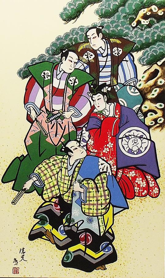Quadro Estilo Japonês Ukiyo-e Gueixa e Samurais Pintado à Mão 50x30cm / Decoração Oriental, Arte, Estampa Japonesa, Pintura Artesanal