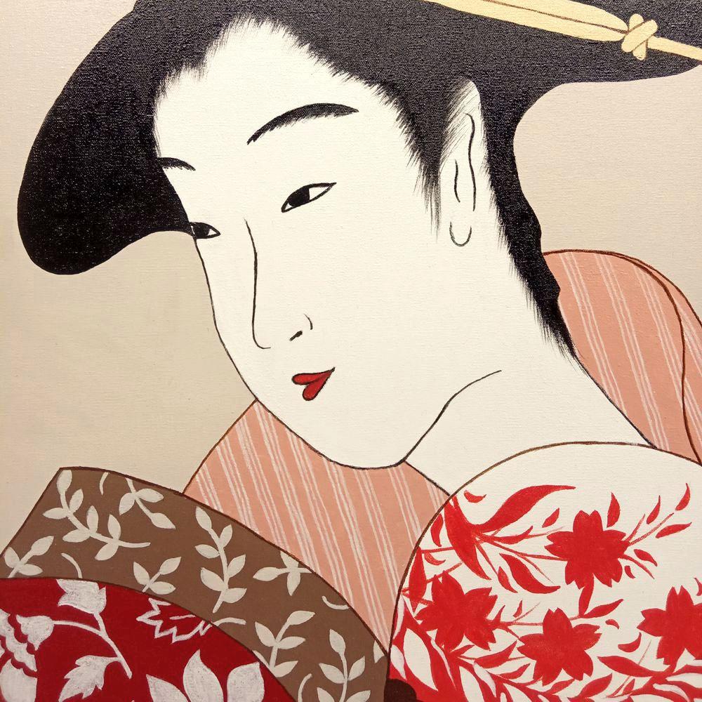 Quadro Estilo Japonês Ukiyo-e Gueixa Pintado à Mão 50x40cm / Decoração Oriental, Arte, Estampa Japonesa, Pintura Artesanal