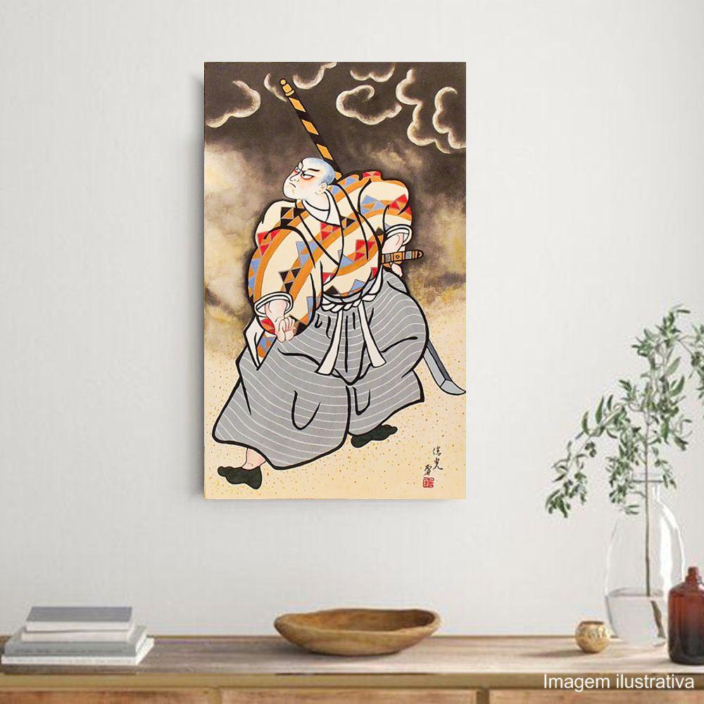 Quadro Estilo Japonês Ukiyo-e Samurai Naginata Pintado à Mão 50x30cm / Decoração Oriental, Arte, Estampa Japonesa, Pintura Artesanal