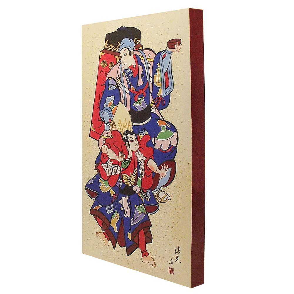 Quadro Estilo Japonês Ukiyo-e Samurai Viajantes Pintado à Mão 50x30cm / Decoração Oriental, Arte, Estampa Japonesa, Pintura Artesanal