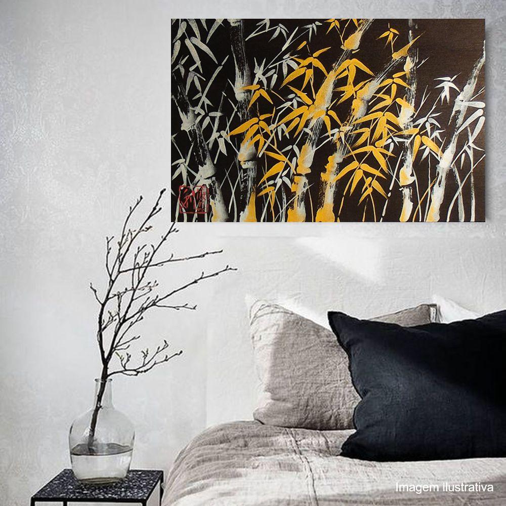Quadro Estilo Sumiê Japonês Bambu Pintado à Mão 60x40 cm / Decoração Oriental, Arte, Estampa Japonesa, Pintura Artesanal