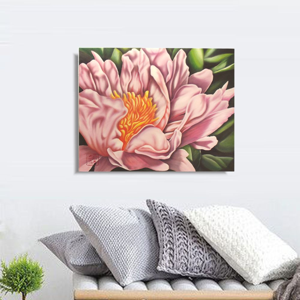 Quadro Flor do Oriente Peônia Óleo em Tela Pintado à Mão 60x50cm / Decoração Oriental, Arte, Estampa Japonesa