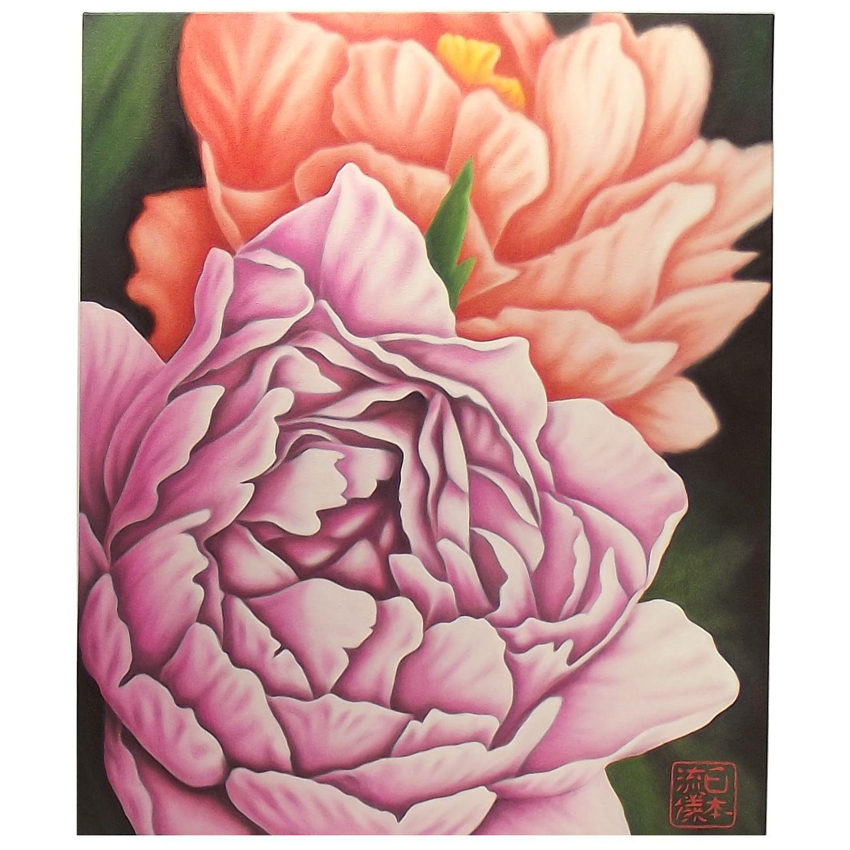 Quadro Flor do Oriente Peônias Óleo em Tela Pintado à Mão 60x50cm / Decoração Oriental, Arte, Estampa Japonesa