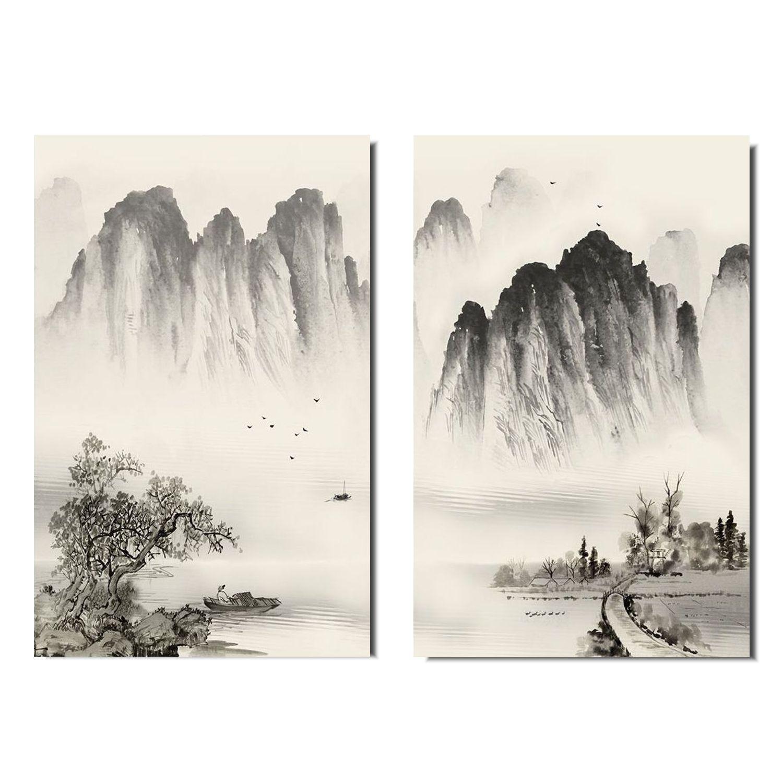 Quadro Paisagem Oriental Díptico Acrílico Pintado à mão  Estilo Sumiê 120x90 cm / Decoração Oriental, Arte, Estampa Japonesa, Pintura Artesanal