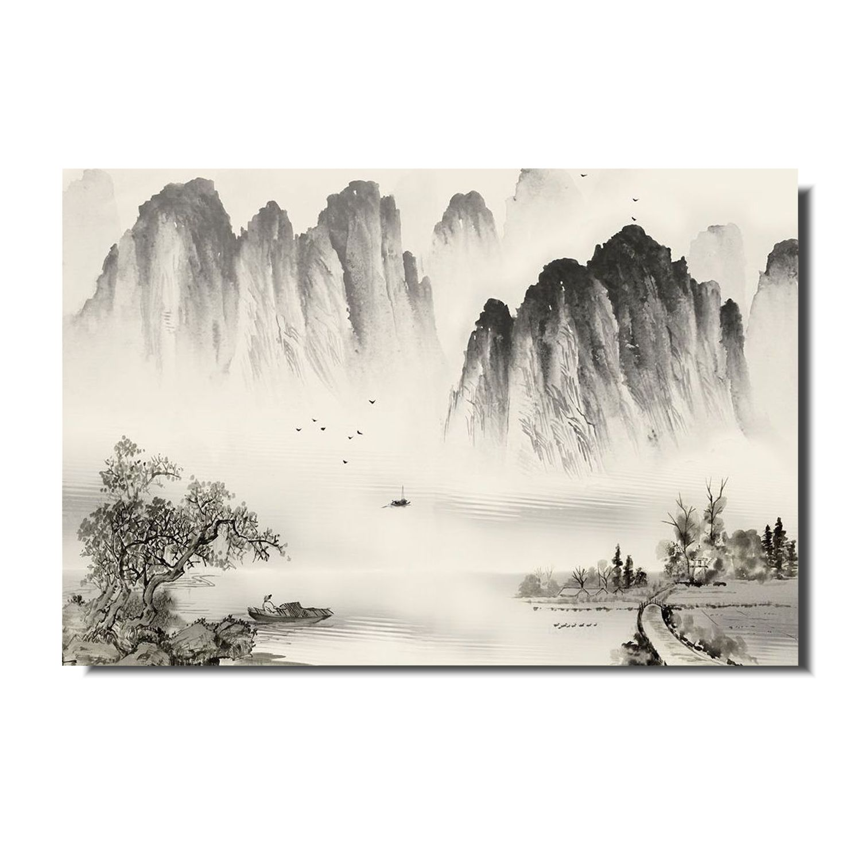 Quadro Paisagem Oriental Minamalista Estilo Sumiê Acrílico sobre tela Pintado à Mão 60x40 cm / Feng Shui, Decoração Oriental, Arte, Estampa Japonesa, Pintura Artesanal