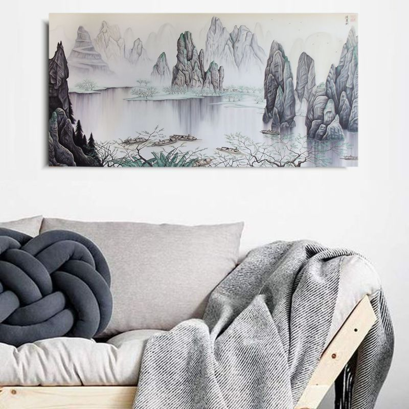 Quadro Paisagem Oriental Pintado à mão 90x50cm / Decoração Zen Oriental, Arte, Estampa Japonesa
