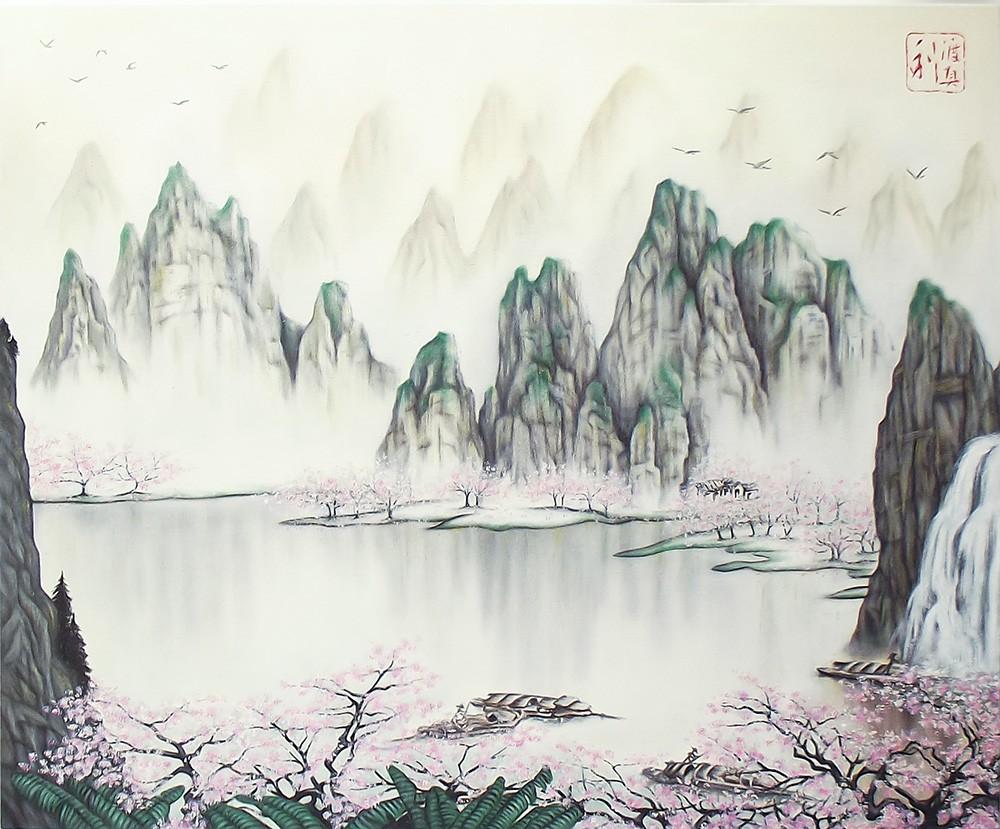 Quadro Paisagem Oriental Sakura Rosa Pintado à Mão Óleo Sobre Tela 60x50cm