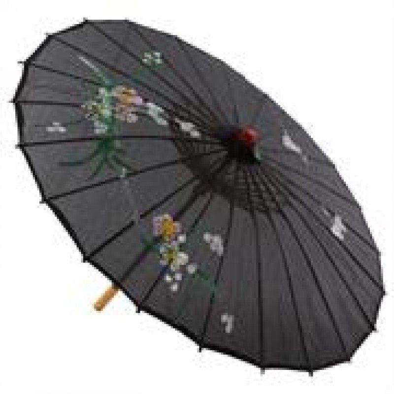Sombrinha Oriental Decorativa Preta 85 cm