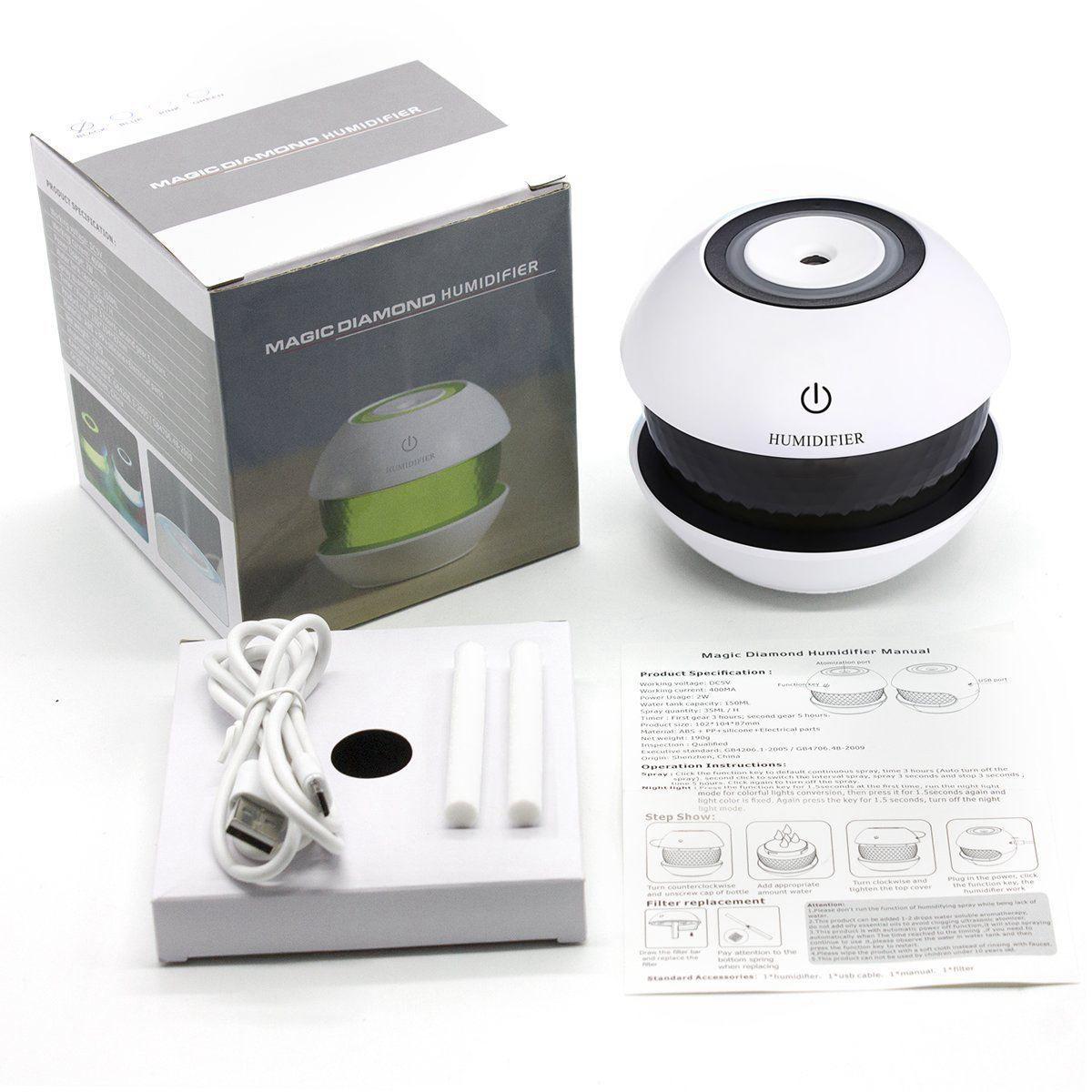 Umidificador de Ar Ultrassônico Magic Diamond Preto c/ Essência 2,5 ml / Aromatizador / Luminária 7 Cores de Luzes Alternadas, Carregamento USB, Interruptor de toque / Casa e Carro