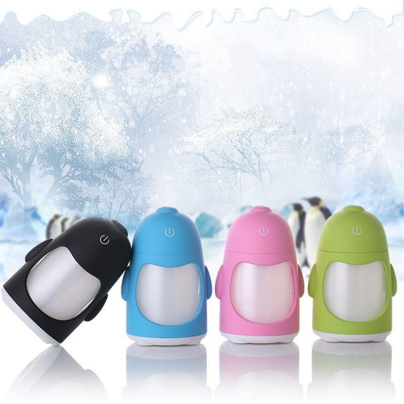 Umidificador de Ar Ultrassônico Pinguim Verde c/ Flaconete de essência 2 ml / Aromatizador / Luminária c/ 7 Cores de Luzes Alternadas, Alimentação USB, Interruptor de toque / Ideal p/ Casa e Veículos