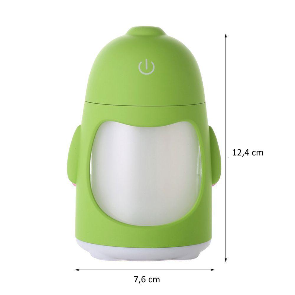 Umidificador de Ar Ultrassônico Pinguim Verde c/ Essência 2 ml / Aromatizador / Luminária c/ 7 Cores de Luzes Alternadas, Alimentação USB, Interruptor de toque / Ideal p/ Casa e Veículos