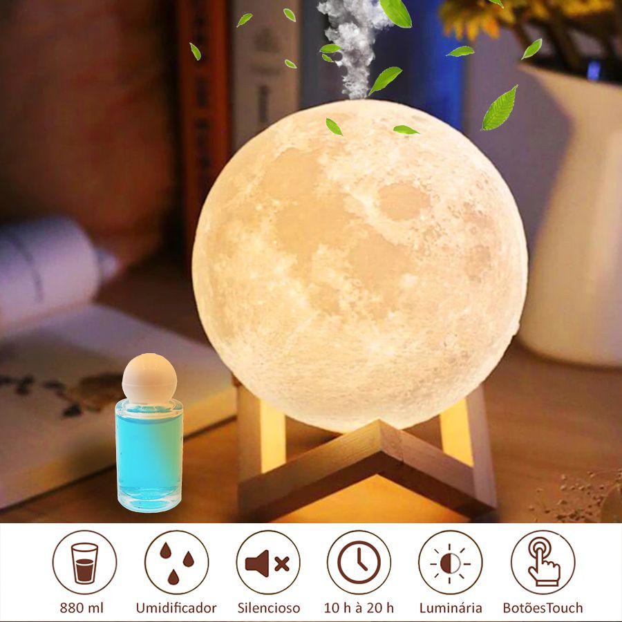 Umidificador de Ar Ultrassônico Lua 3D c/ Essência 10 ml / Aromatizador, Luminária c/ 3 Cores de Luzes, Alimentação USB, 880ml c/ 30h duração, superfície tridimensional, Silencioso