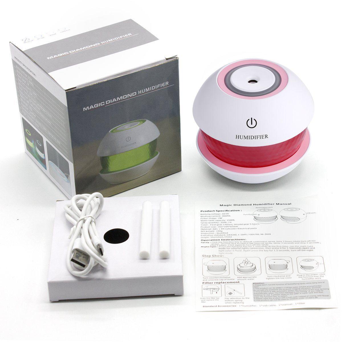 Umidificador de Ar Ultrassônico Magic Diamond Rosa  c/ Essência 2 ml / Aromatizador / Luminária c/ 7 Cores de Luzes Alternadas, Carregamento USB