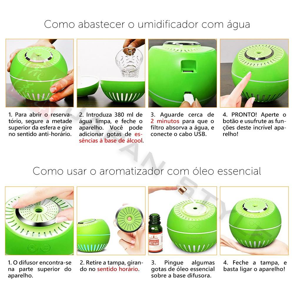 Umidificador de Ar Ultrassônico Melon Multifunção 3 unidades Verde Musgo e Branco