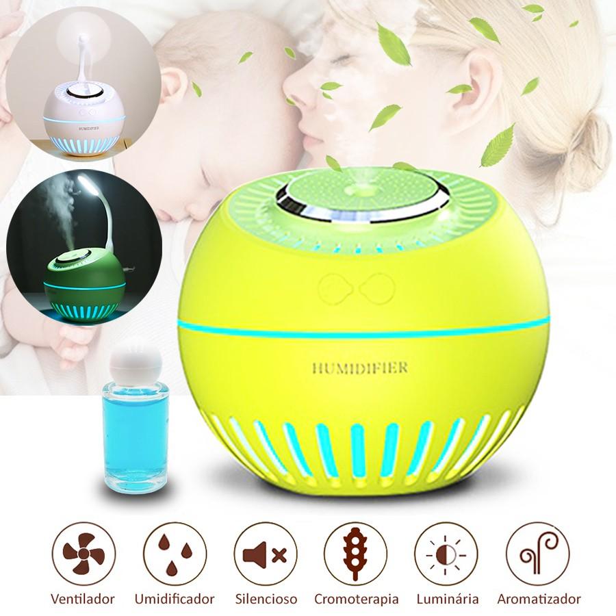 Umidificador de Ar Ultrassônico Melon Multifunção 5x1 Amarelo 380ml Desligamento Automático / Brinde Essência /Aromatizador  , Ventilador, Luminária, Cromoterapia