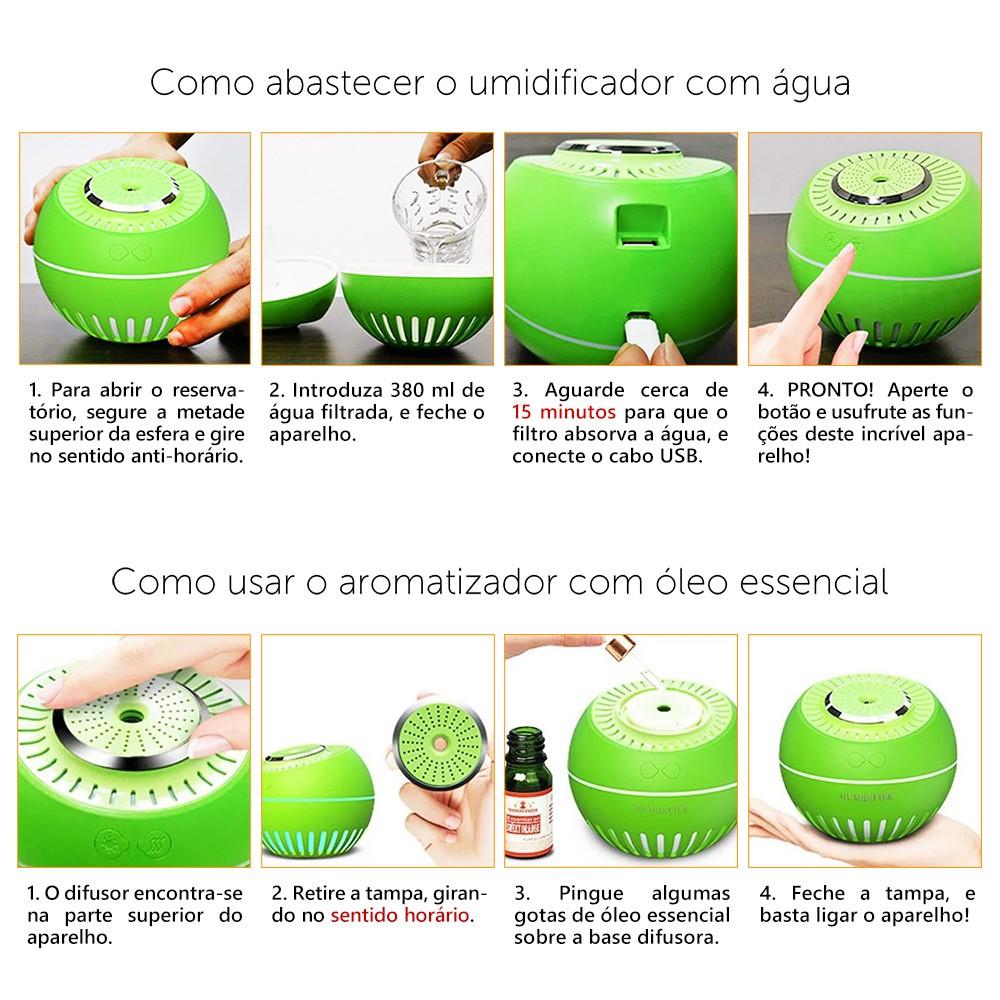 Umidificador de Ar Ultrassônico Aromatizador Melon Multifunção 5x1 Branco 380ml USB Desligamento Automático