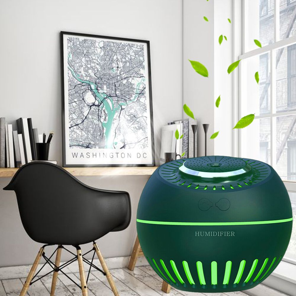 Umidificador de Ar Ultrassônico Aromatizador Melon Multifunção 5x1 Verde Musgo 380ml USB Desligamento Automático