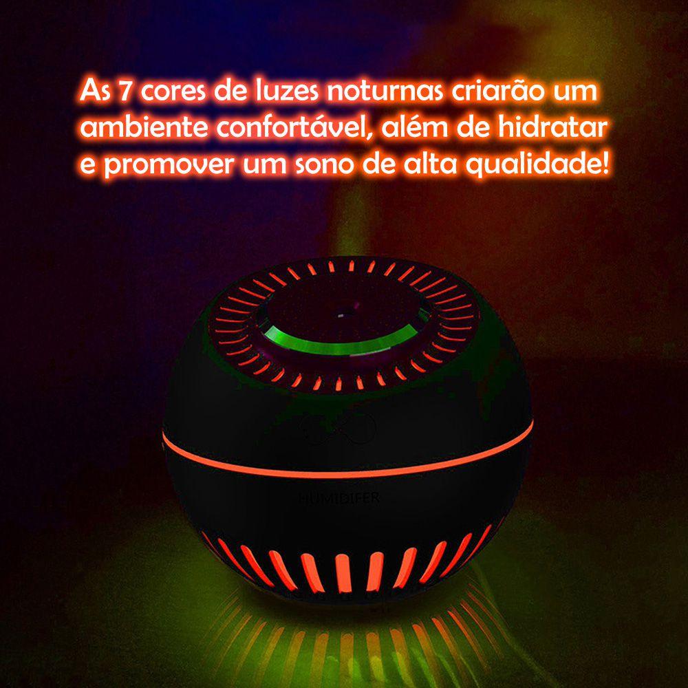 Umidificador de Ar Ultrassônico Melon Multifunção Branco c/ Frasco de Essência 10ml / Aromatizador, Ventilador, Luminária, Cromoterapia c/ 7 Cores de Luzes / Ideal p/ Casa e Carros