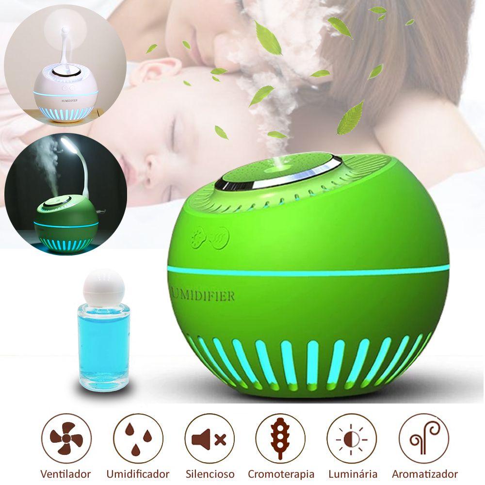 Umidificador de Ar Ultrassônico Aromatizador Melon Multifunção 5x1 Verde 380ml USB Desligamento Automático