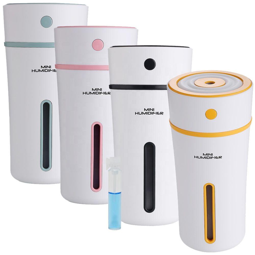 Umidificador de Ar Ultrassônico Mini Humidifier Copo 300ml c/ Essência 2ml / Aromatizador / Luminária / USB / Ideal p/ Carros