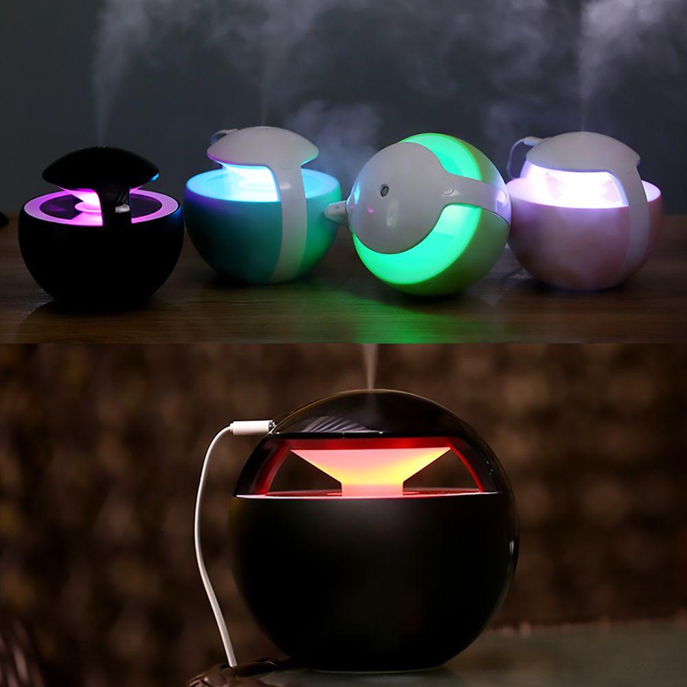 Umidificador de Ar Ultrassônico Night Elf Preto 450ml c/ Flaconete de essência 2,5ml / Aromatizador / Luminária c/ 7 Cores de Luzes Alternadas, Carregamento USB, Ideal p/ Casa e Veículos