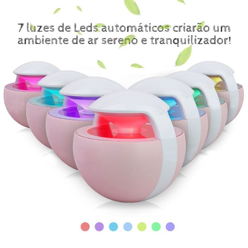 Umidificador de Ar Ultrassônico Night Elf Rosa 450ml c/ Essência 2ml / Aromatizador / Luminária c/ 7 Cores de Luzes Alternadas, Carregamento USB