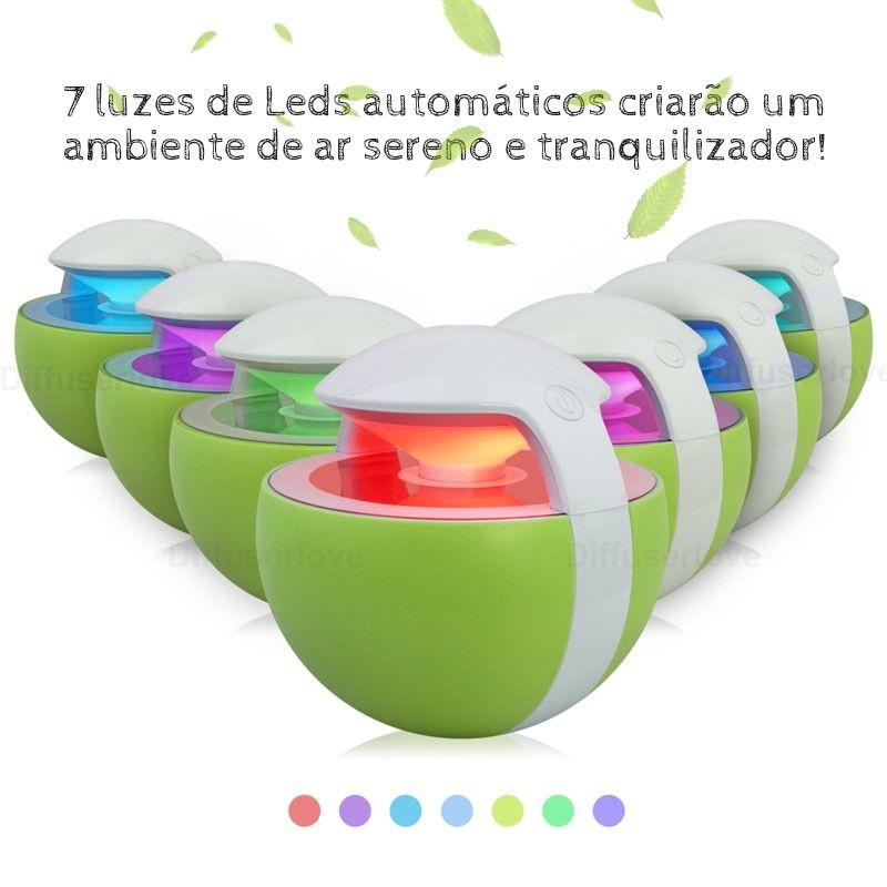 Umidificador de Ar Ultrassônico Night Elf Verde 450ml Brinde Essência 2ml / Aromatizador / Luminária 7 Cores / USB