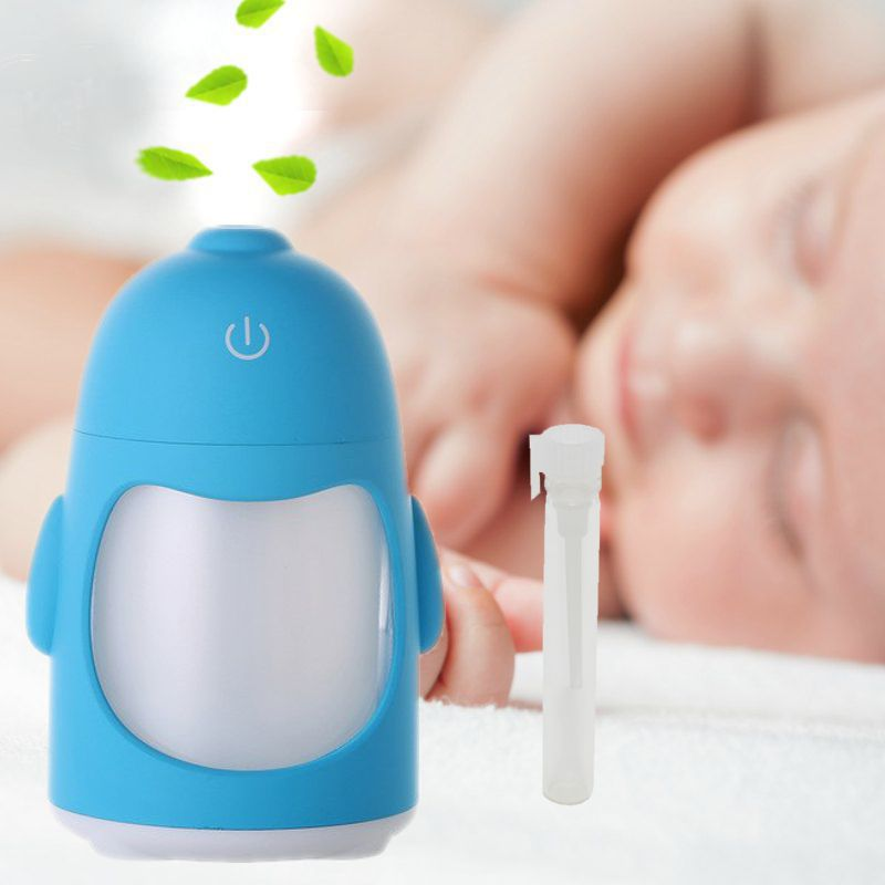Umidificador de Ar Ultrassônico Pinguim Azul c/ Essência 2 ml / Aromatizador / Luminária 7 Cores Luzes Alternadas, USB, Interruptor de toque / Ideal p/ Casa e Veículos