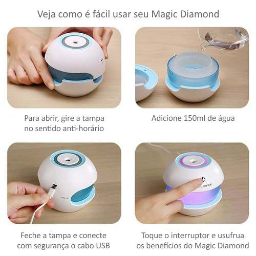Umidificador de Ar Ultrassônico Magic Diamond c/ Essência 2,5 ml / Aromatizador / Luminária Led 7 Cores de Luzes Alternadas, USB, Interruptor de toque / Ideal p/ Casa e Carros