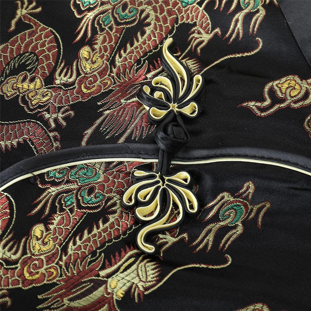 Vestido Chinês Tradicional Longo Preto Estampa Floral Fênix e Dragão