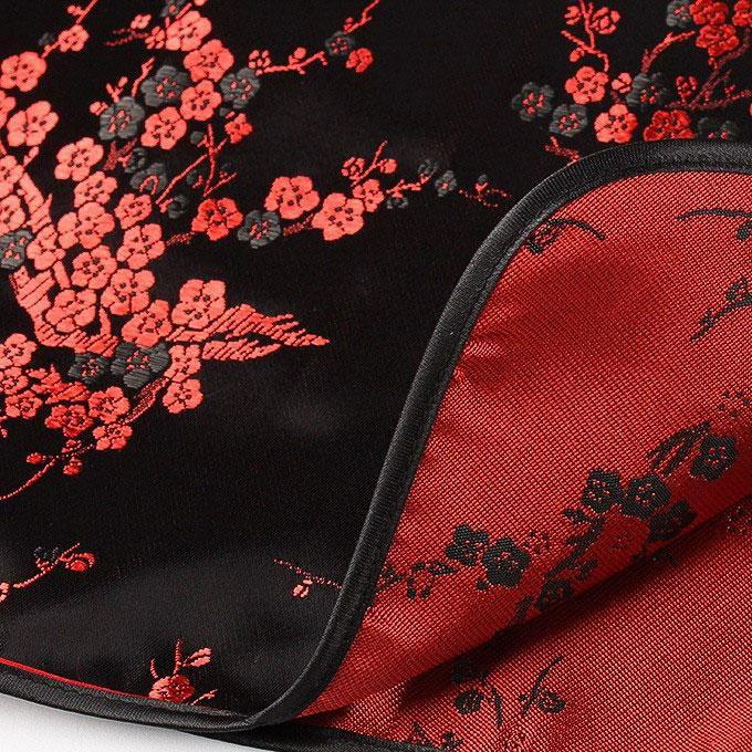 Vestido Chinês Tradicional Curto Preto Estampa Flor de Cerejeira Sakura