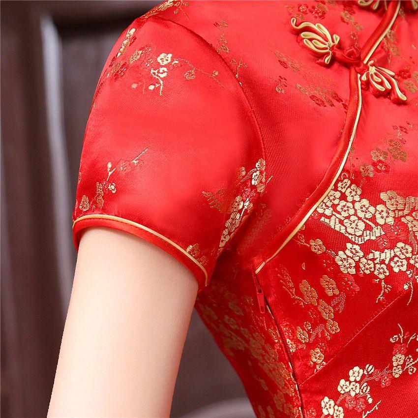 Vestido Chinês Curto Tradicional Vermelho c/Flor de Cerejeira