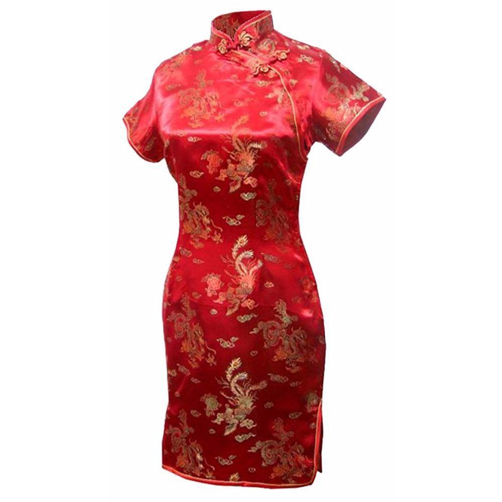 Vestido Chinês Curto Tradicional  Vermelho c/ Dragão e Fênix
