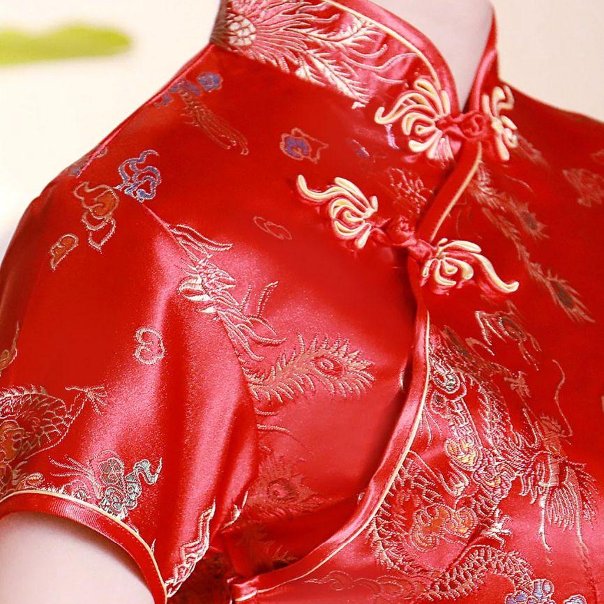Vestido Chinês Tradicional Longo Floral Fênix Dragão