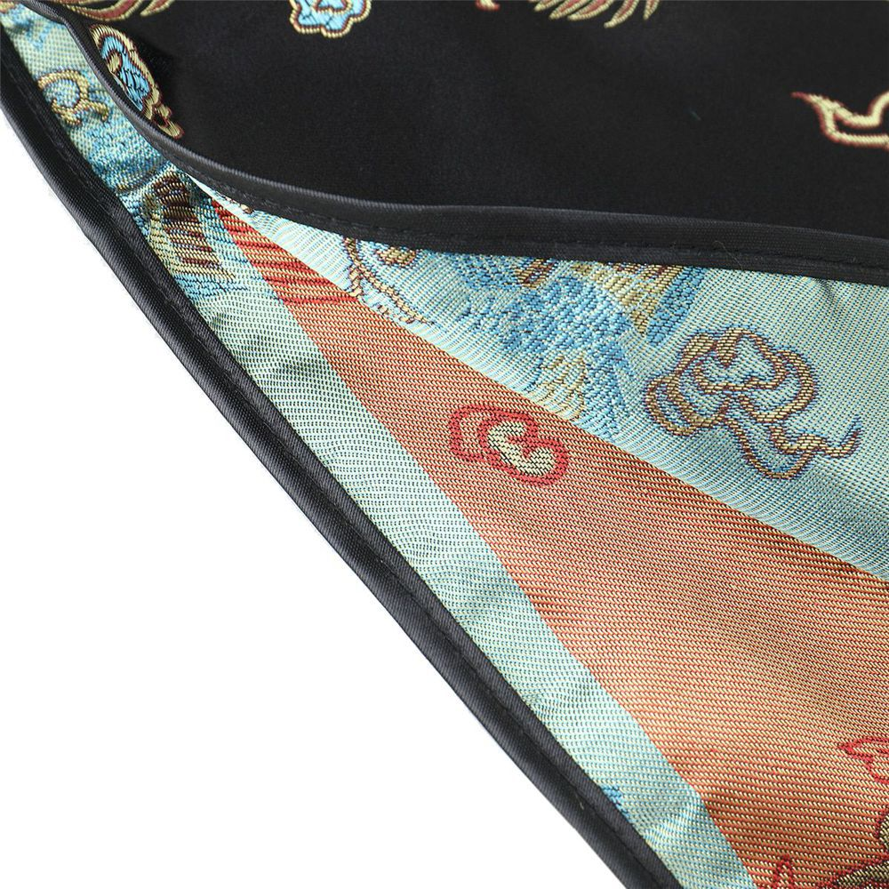 Vestido Chinês Curto Tradicional Preto Floral Fênix e Dragão