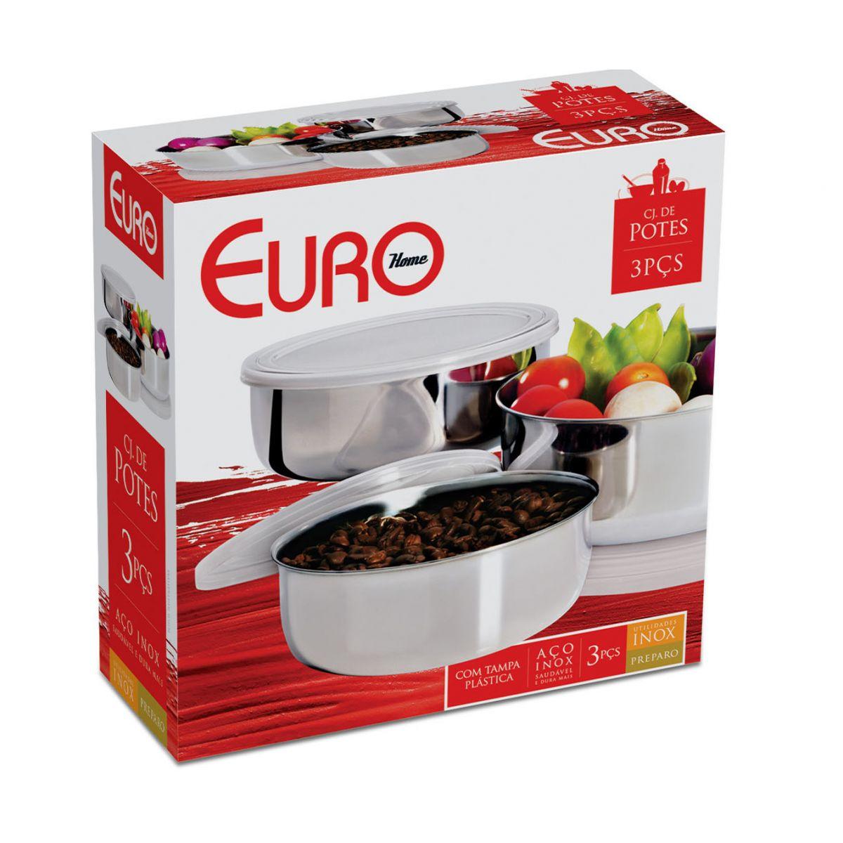 Conjunto de Potes Inox 3 peças Euro Home