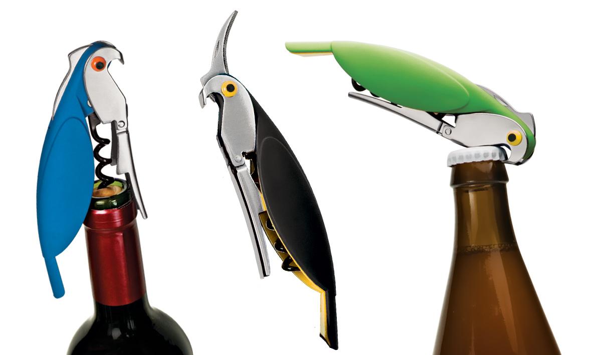 Abridor Multiuso Birds Euro Design em Inox e Plástico VERDE