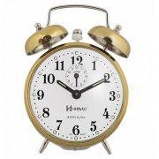 Relógio Despertador Mecânico Herweg 2370 – Dourado Picotado