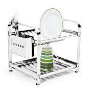 Escorredor 12 pratos Montado com Porta Talheres em Aço Inox Mak-Inox