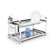 Escorredor 20 pratos Montado com Porta Talheres em Aço Inox Mak-Inox