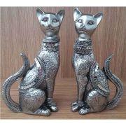 Peça Decorativa em Gesso Metalizado – Conjunto de Gatos