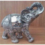 Peça Decorativa em Gesso Metalizado – Elefante Tribal