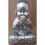 Peça Decorativa em Gesso Metalizado – Monge não falo